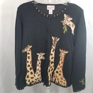 Ronnie Salloway Giraffes Ramie Cotton Cardigan
